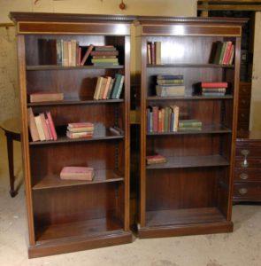 الزوج ريجنسي المفتوحة للكتب جبهة الماهوجني خزانة الكتب الجرف
