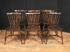 تعيين 6 العتيقة البلوط وندسور كراسي 1920 مطبخ كرسي الطعام