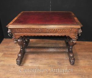 وقطع أثرية منقوشة 19 قرن مكتب اوك المكتبة الطاولة الكتابة