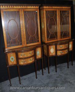 الزوج شيراتون رسمت خزائن العرض ريجنسي حطب الليمون خزانة الكتب