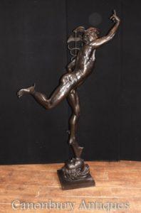 زل إيطالي، برونز، ميركوري، تمثال الصب، هيرميس، بجانب، جيامبولوغنا