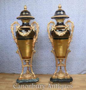 زوج الفرنسية لويس السادس عشر قطع المزهريات الزجاجية أمفورا أورنس أورمولو