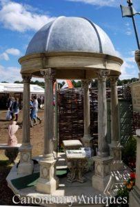 2.4M حجر حديقة معبد شرفة مع قبة مخروطي الشكل