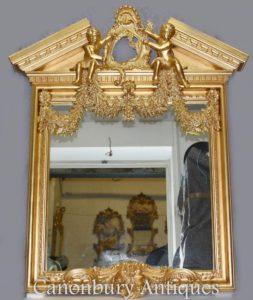 الإنجليزية Palladian المذهبة بيير ميرور Cherubs النيو كلاسيكية