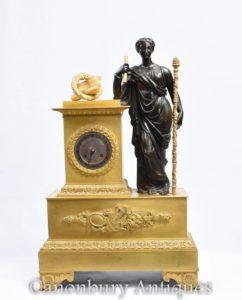 العتيقة الفرنسية الإمبراطورية مذهب البرونزية عباءة على مدار الساعة