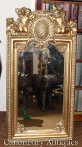 الفرنسية الباروك المذهبة Cherub Pier Mirror