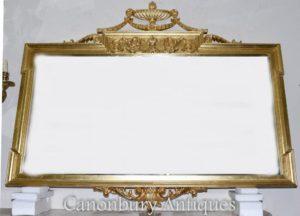 كبير ريجنسي آدمز مرآة عباءة المذهبة الزجاج
