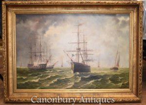 لوحات زيتية بحرية جاليونز القناة الإنجليزية للمناظر الطبيعية