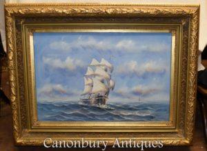 وحة الزيتية الإنجليزية السفينة البحر سكيب الفن البحري