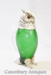 الفيكتوري الفضي لوحة زجاج الدورق إبريق النسر الصقر