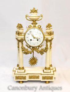 امبراطورية الرخام الفرنسي عباءة ساعة Ormolu تركيبات الكلاسيكية