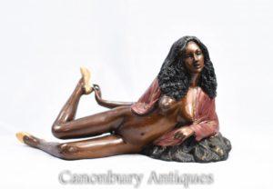 برونزية 70 مثير سيدة شبه عارية تمثال الشبقية Kitsch
