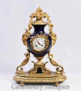 ساعة الامبراطورية الفرنسية عباءة الساعة أورمولو والبورسلين