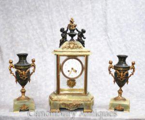 العتيقة الإمبراطورية اونيكس المذهبة ساعة مجموعة التحفة الفنية شروق Garniture