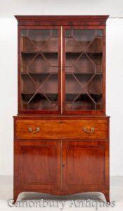 ريجنسي خزانة مكتب سكرتارية العتيقة الماهوجني