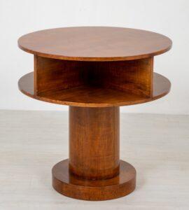 طاولة جانبية آرت ديكو - أسطواني من الجميز الدائري حوالي عام 1930