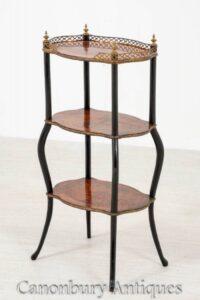 Etagere الفرنسية العتيقة طاولة الجانب حوالي 1900 أمبوينا