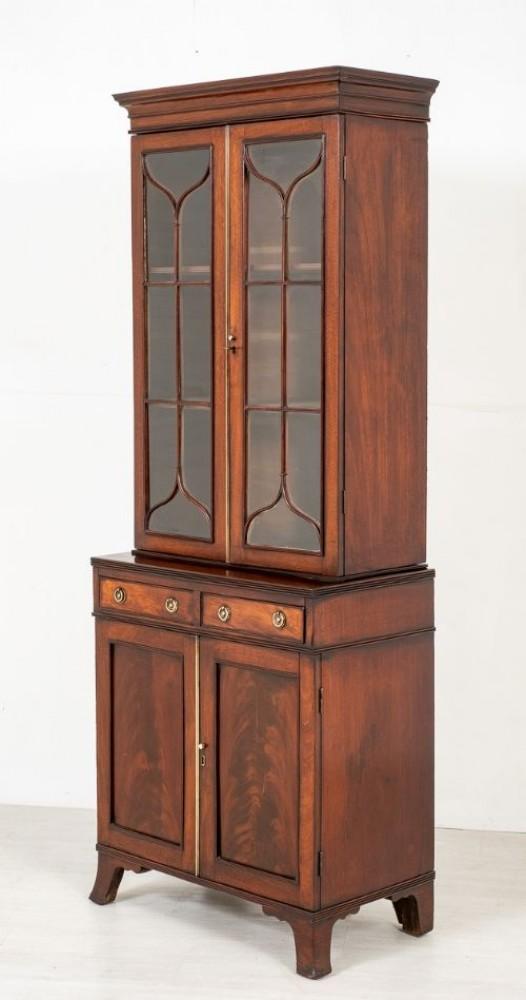 خزانة كتب جورجية مزججة - خزانة ماهوجني عتيقة 1800