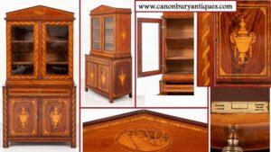 خزانة كتب من خشب الماهوجني الهولندي العتيق - مرصعة بخزانة زجاجية مطعمة 1860