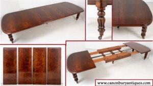طاولة طعام ويليام الرابع - طاولات مطاطية عتيقة من خشب الماهوجني