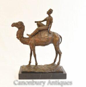 البرونزية البدو الجمل متسابق تمثال الفرنسية الصب