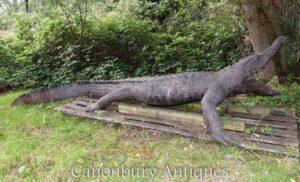 تمثال تمساح برونزي بحجم الحياة - تمساح حديقة الحيوانات الأليفة