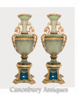 زوج الإمبراطورية المزهريات الزجاجية-ضخمة مذهب الركيزة الجرار