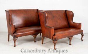 زوج الملكة آن أريكة أريكة جلدية الذراع الكراسي