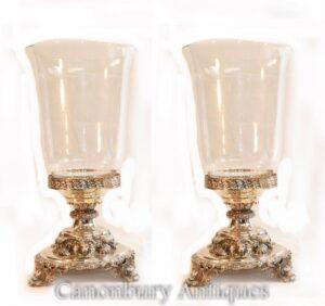 زوج جورج الثالث الفضة لوحة المزهريات الزجاجية قاعدة الأسد
