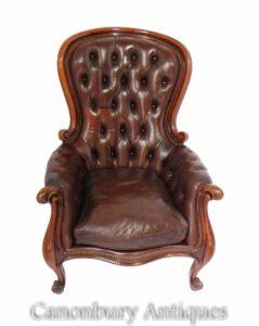 كرسي بذراع خلفي بالون فيكتوري - زر جلدي عميق 1880
